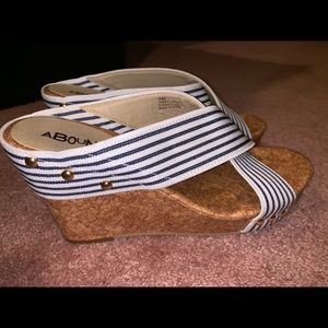 ABOUND Navy Blue Stripe Wedge Heels